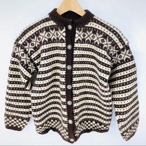 Vintage Handmade Wool Fair Isle striped sweater